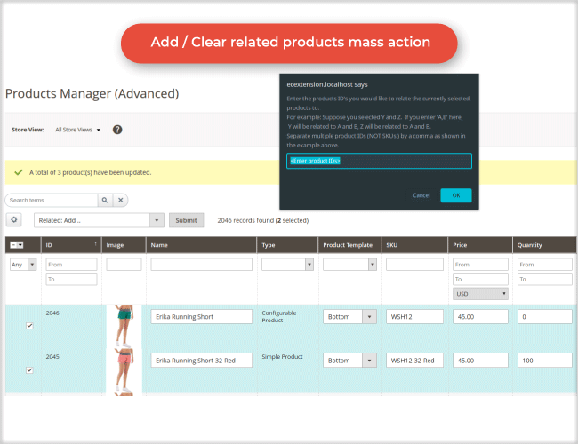 Add / Clear related products mass action