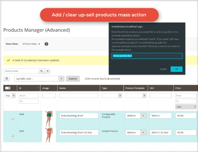 Magento product manager up sell products