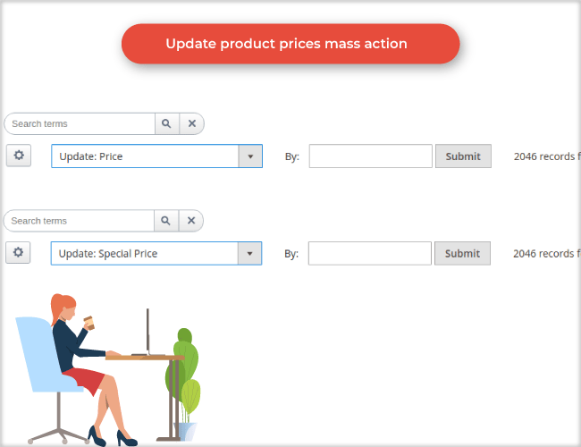 Update product prices: cost, price, special prices,.. mass action