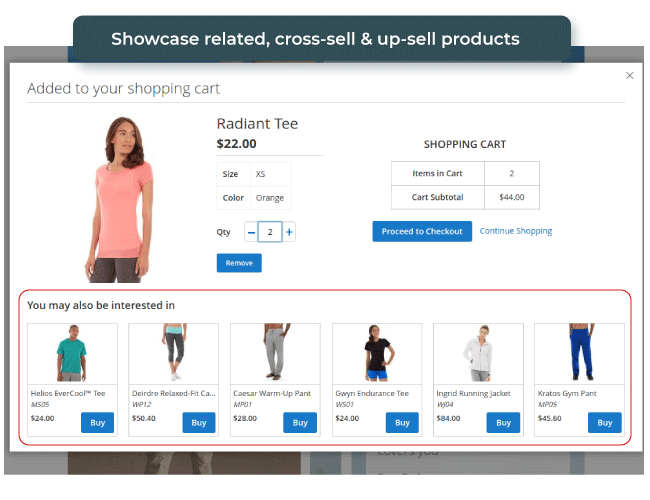 Ajax Suite for Magento 2 pop up shopping cart