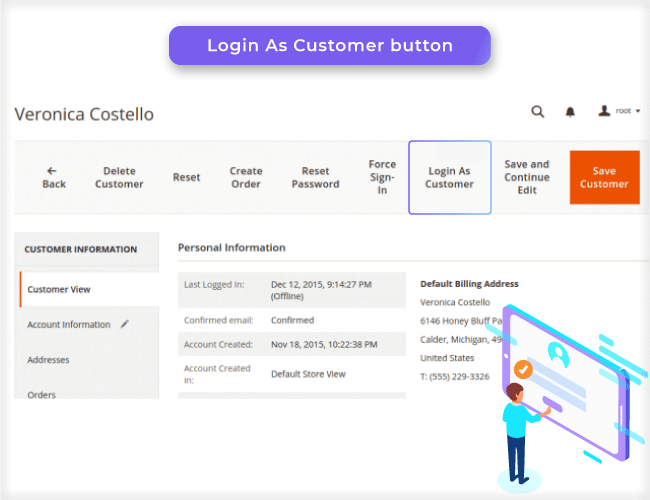 Magento 2 Login As Customer Button
