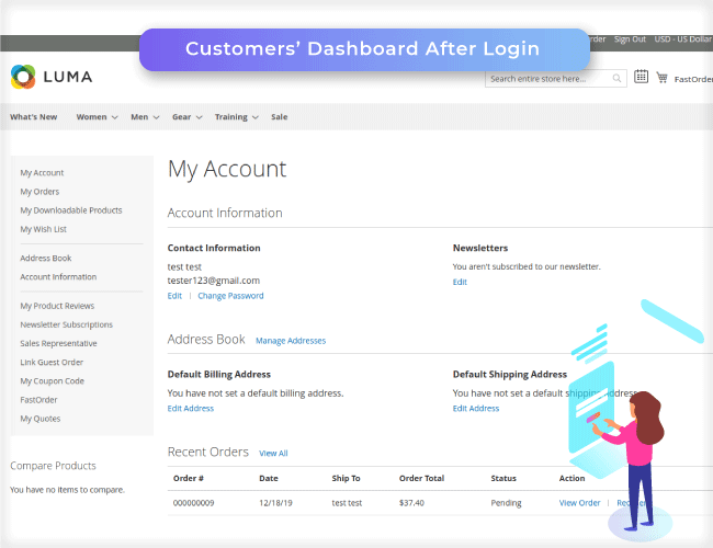 Admin logins as customer from the backend