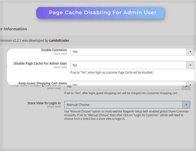 Magento 2 login as customer supports Disable page cache