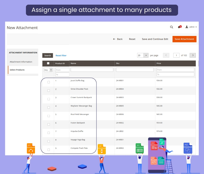 Magento 2 Product Attachment Assign Many Product