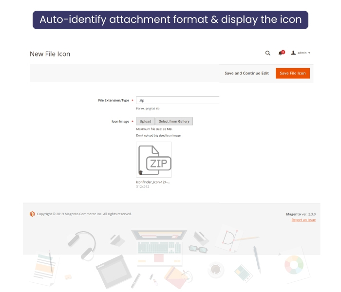 Magento 2 Product Attachment Customize Icon