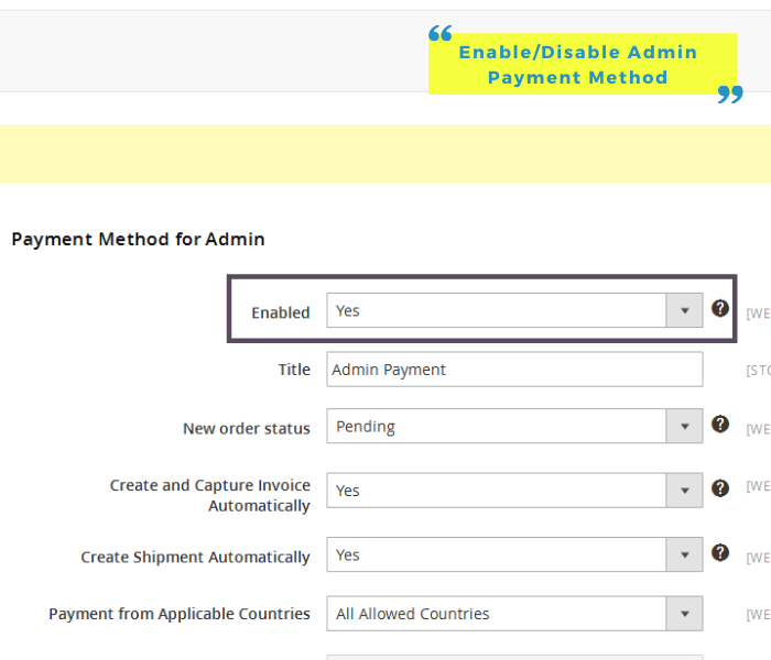 enable admin payment method for magento_2
