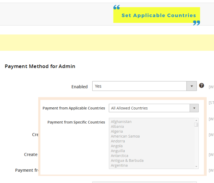 magento 2 admin payment method allow on countries