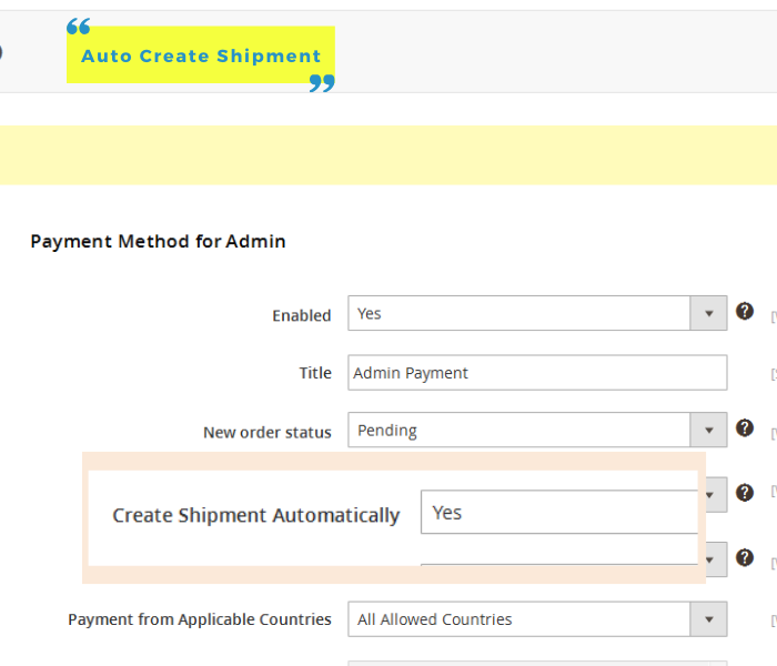 magento 2 admin payment method auto create shipment