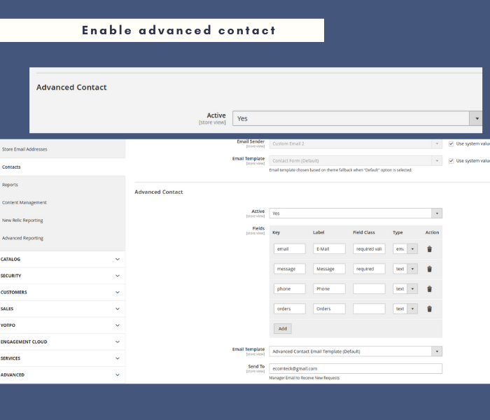enable Manage 2 advanced contact form extension