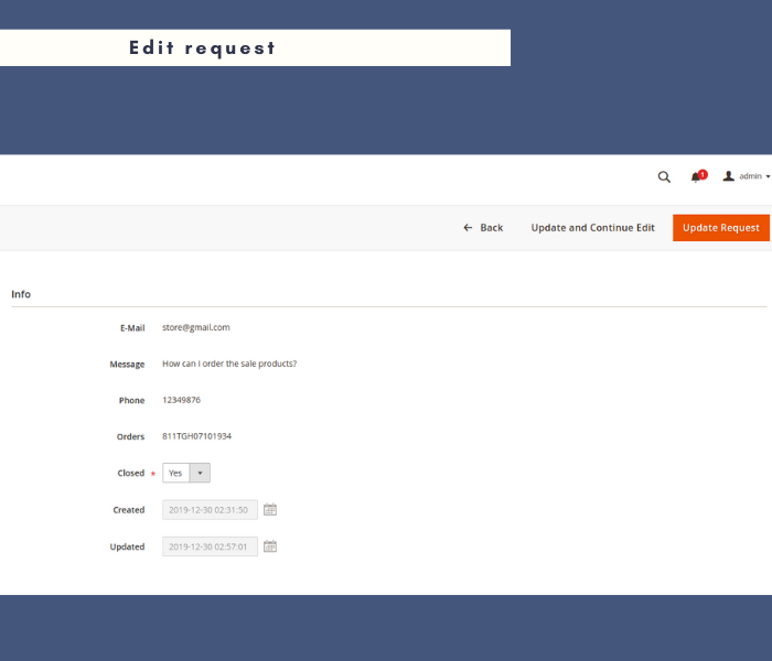 Manage 2 contact form edit request