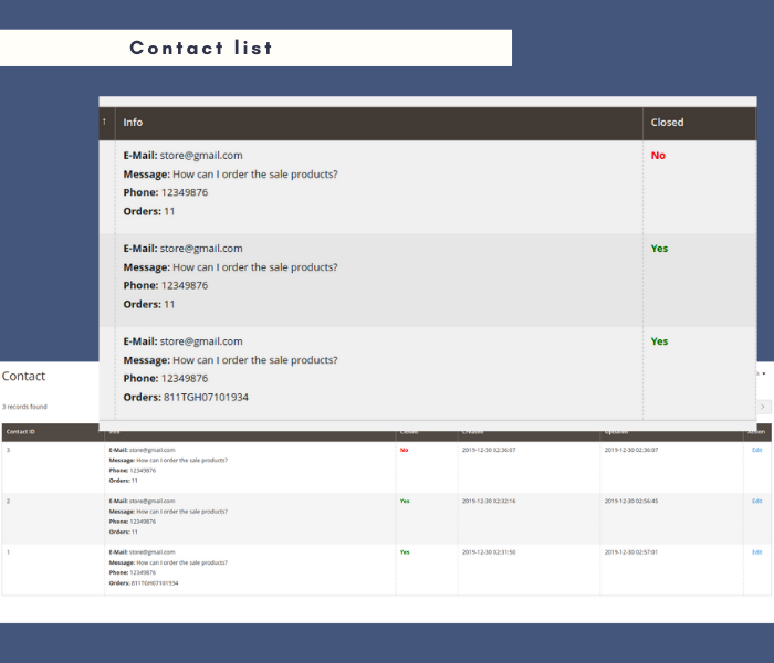 Magento 2 contact form manage requests