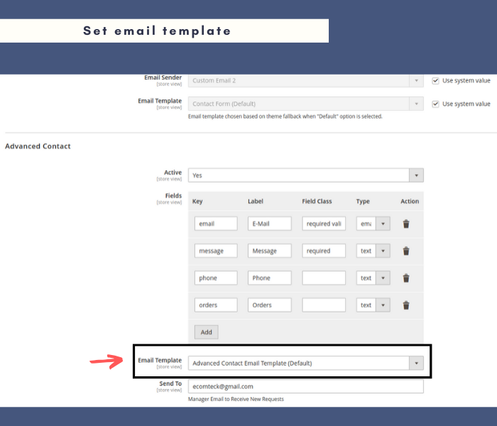 magento 2 contact form set email template