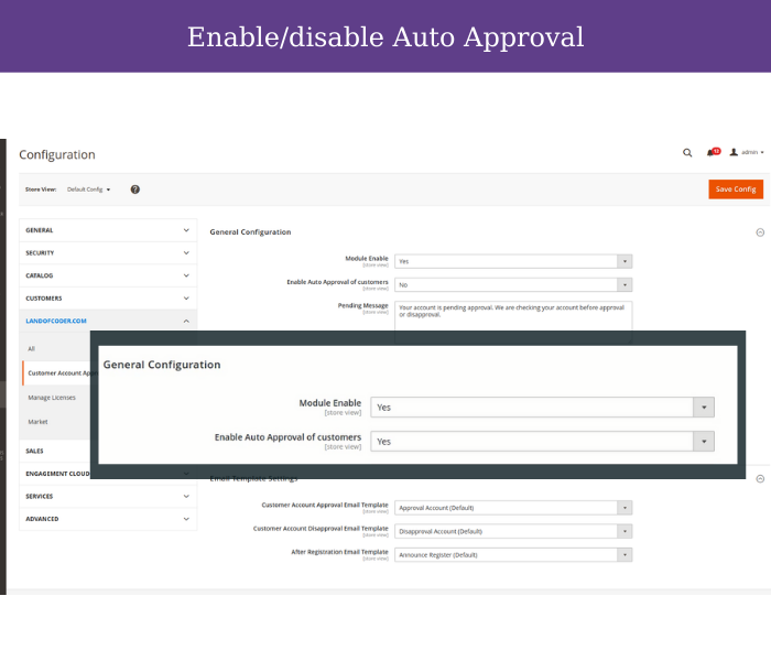 enable disabl auto approve customer in magento 2