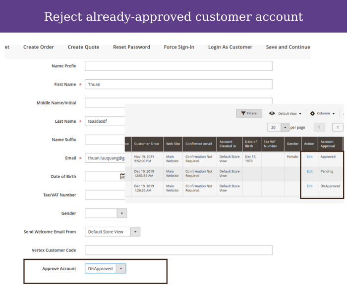 magento 2 customer approval edit reject account