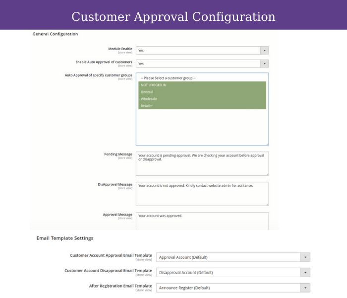 configure magento 2 customer approval extension