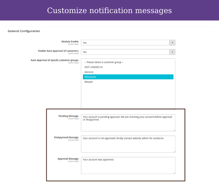 magento 2 customer approval notification message