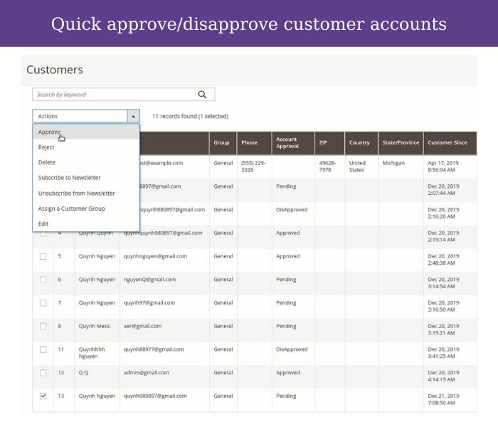 magento 2 customer approval quick approve disapprove on grid