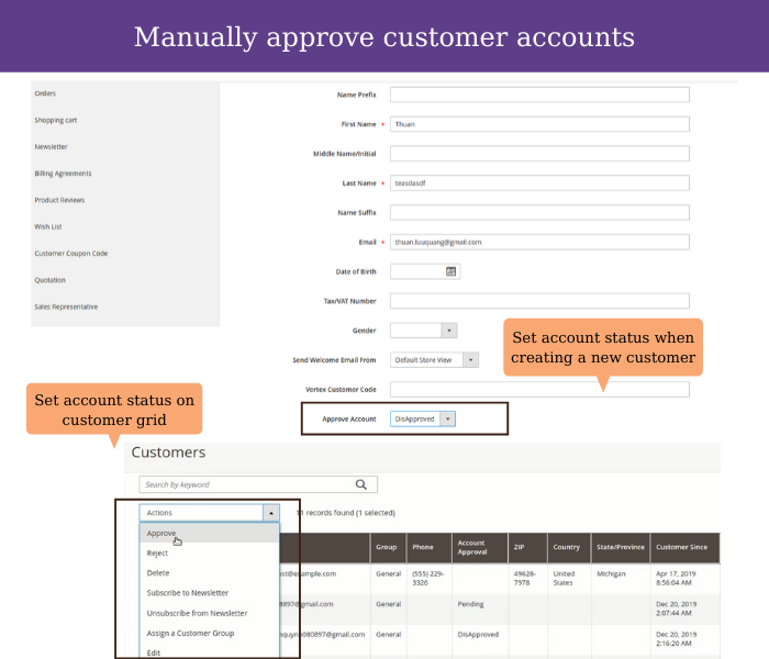 magento 2 manually approve customer accounts