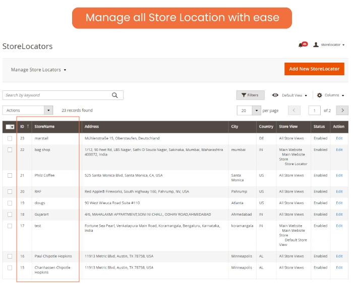 Manage all Store Location with ease