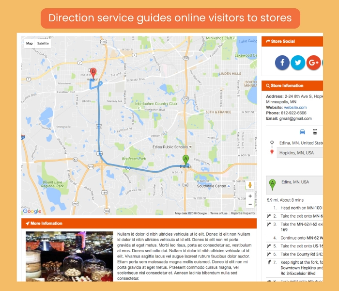 Direction service guides online visitors to stores