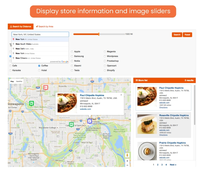 Display store information and grid/list view