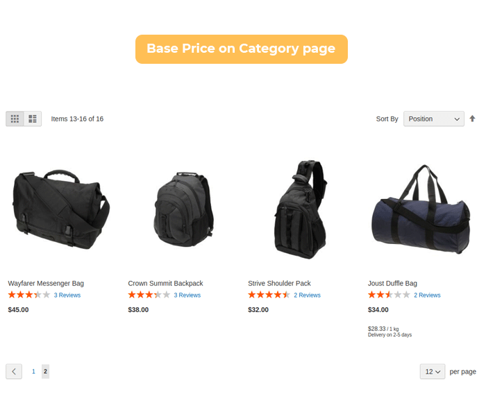 Magento 2 base price display on category page