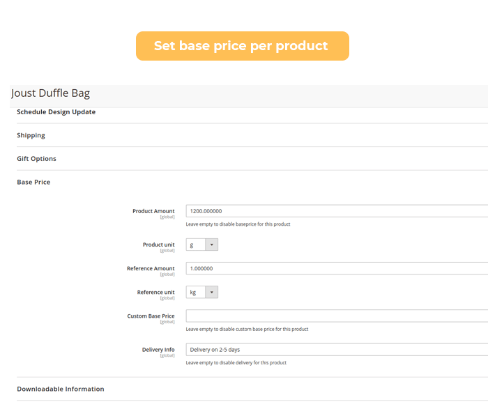 magento 2 set base price per product