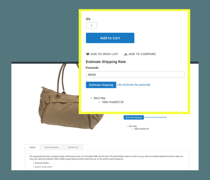 Magento 2 estimate shipping rates on product page
