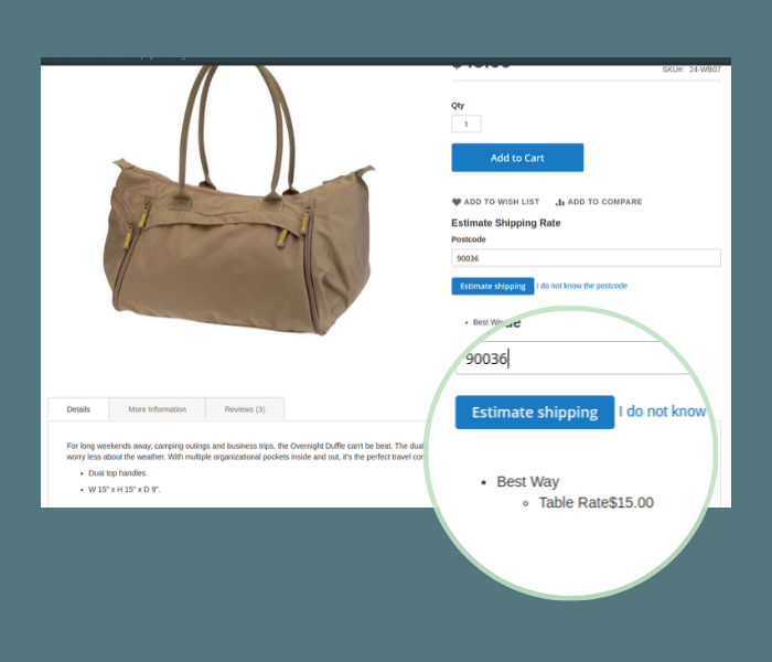 magento 2 shipping calculator on product page quick estimate rates