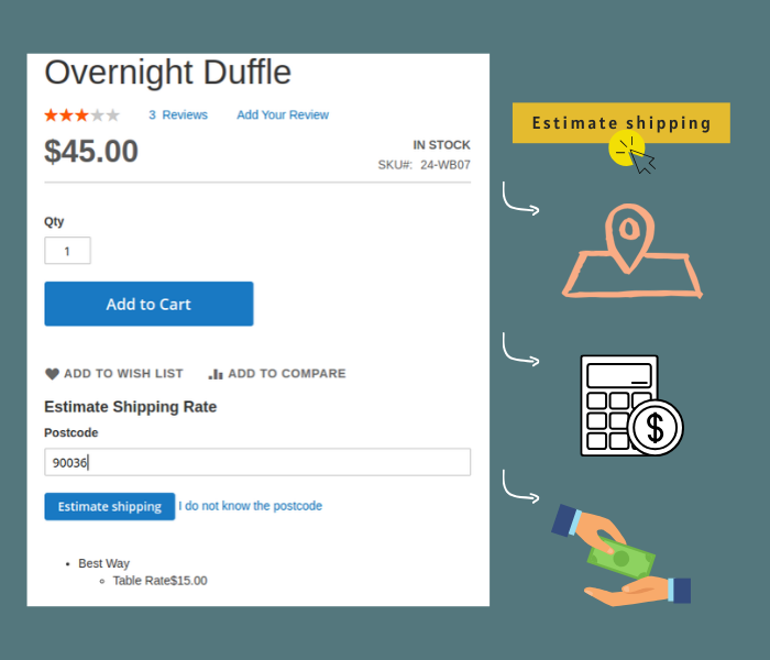Magento 2 shipping estimate on product page