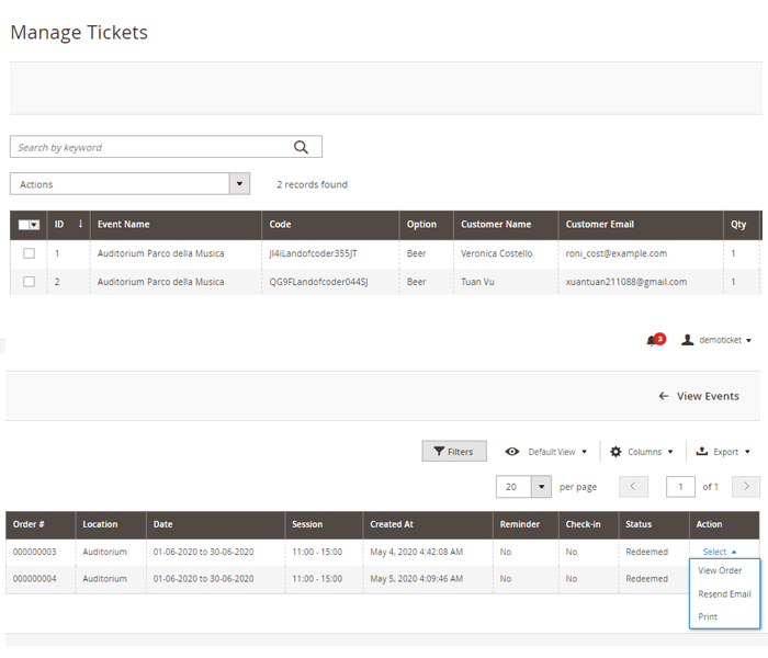 magento 2 event tickets - manage event tickets