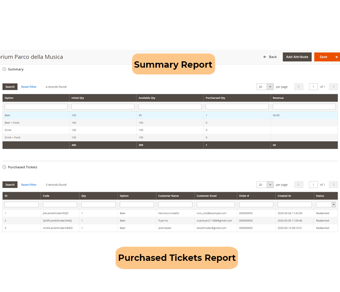 magento 2 event tickets - check ticket report of events