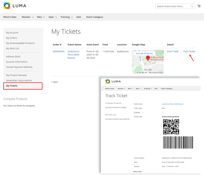 magento 2 event tickets - track purchased tickets via ticket link