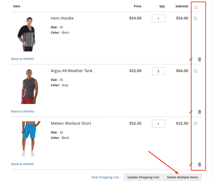 delete multiple items from shopping cart in magento 2