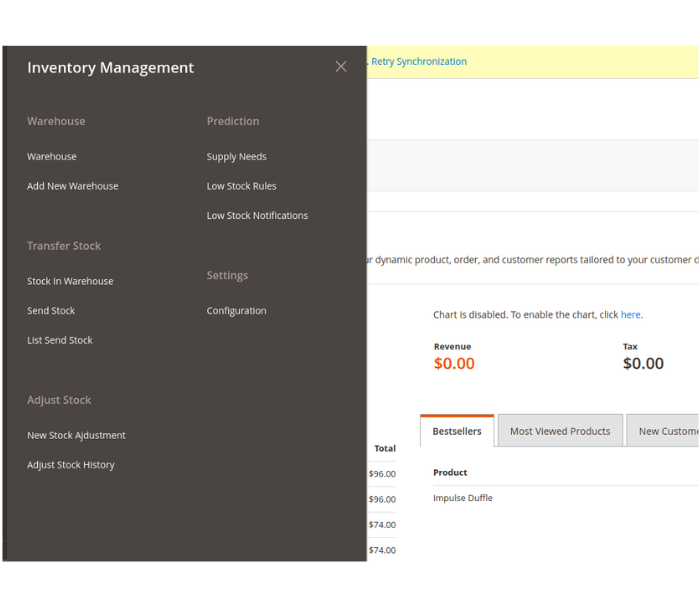 Magento 2 multi warehouse inventory extension backend menu