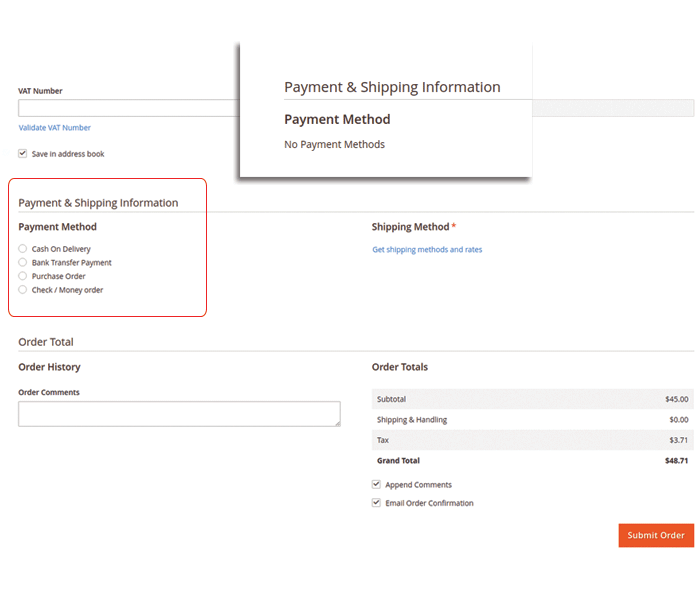 magento 2 payment restrictions create new order for customer in backend