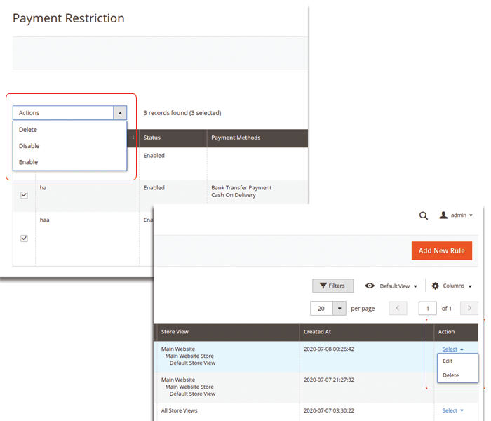 magento 2 payment restrictions manage rules by actions