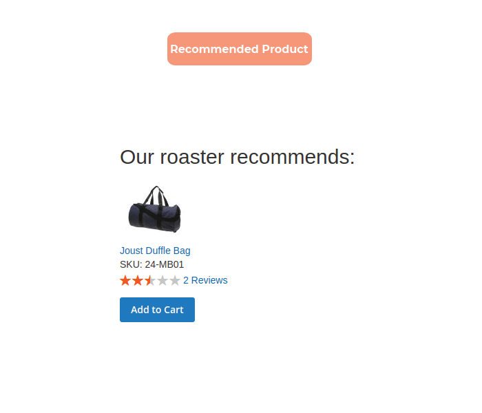 Magento 2 product recommendations display recommended item