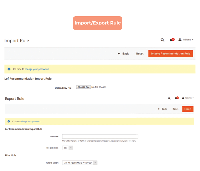 magento 2 product recommendation import export rules