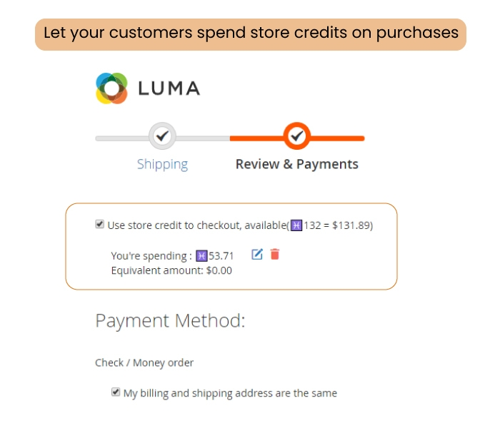 Use credit to purchase product anytime