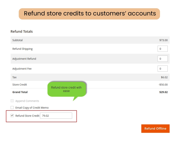 Keep track of the store credit balance & history