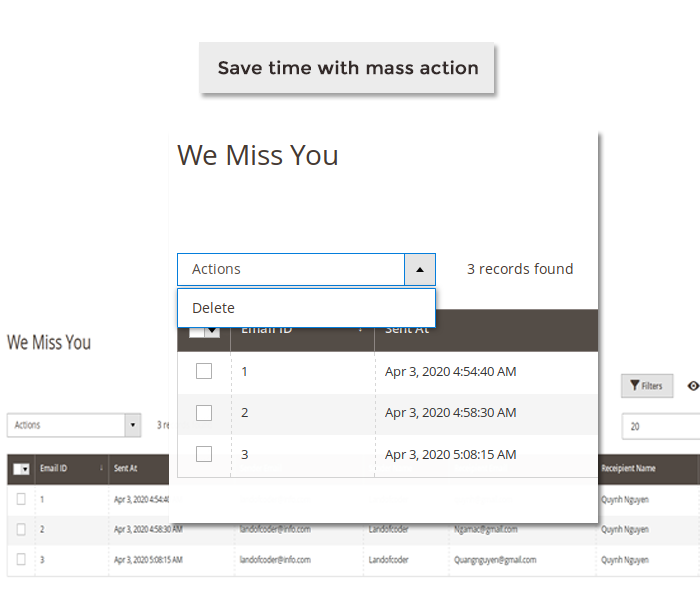 magento 2 we miss you email mass action delete all emails
