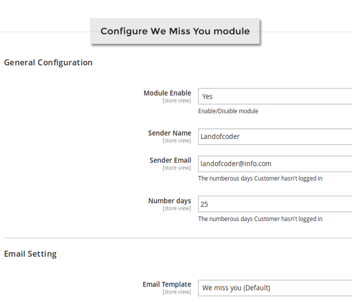 magento 2 we miss you email notification configuration