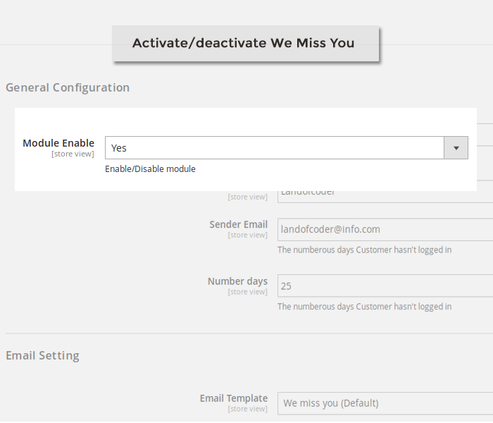 magento 2 we miss you enable or disable module