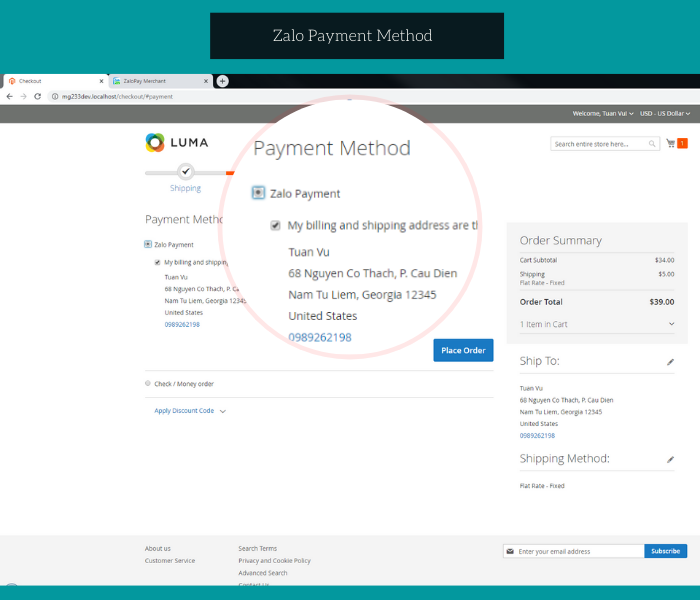 Magento 2 zalopay extension zalo payment method