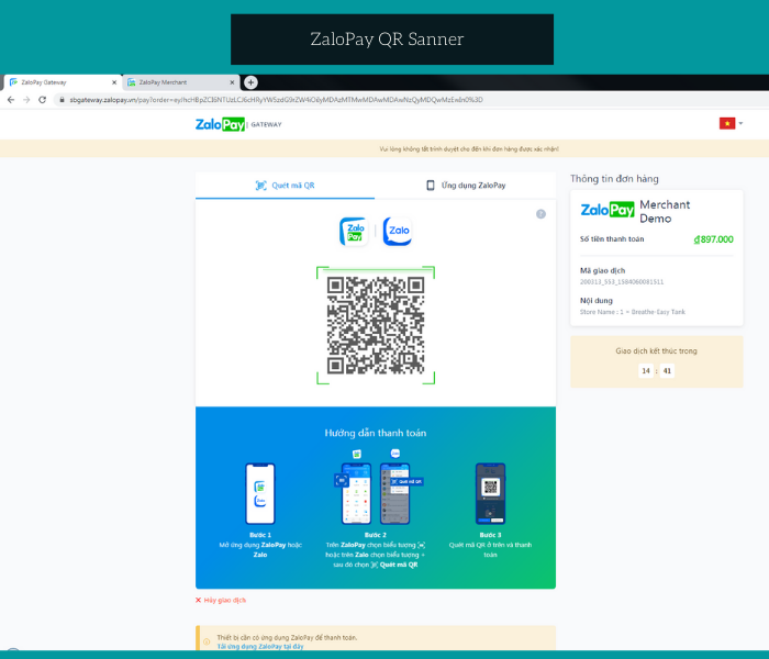 Magento 2 zalopay payment extension qr scanner