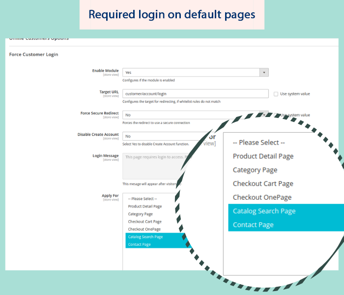 magento 2 force login on defaut pages