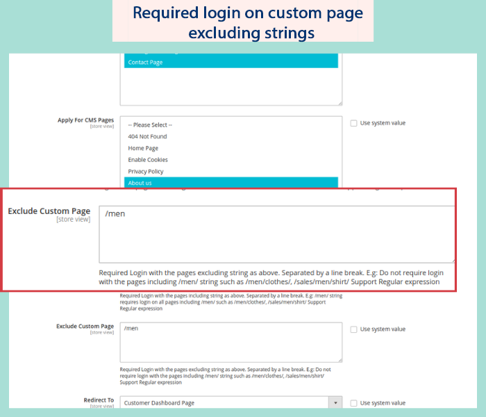 magento 2 force login on custom page exclude strings
