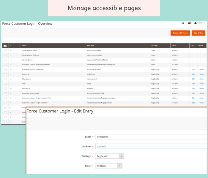 magento 2 force login manage accessible pages