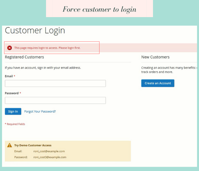 magento 2 force login restrict non logged in customers